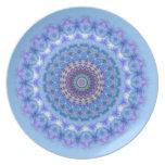 Placa azul bonita de la mandala del caleidoscopio plato para fiesta