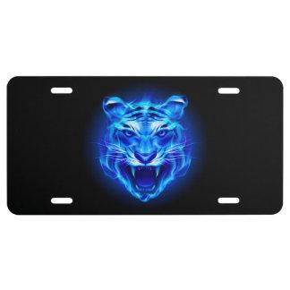 Placa azul de la cara del tigre del fuego placa de matrícula