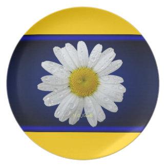 Placa azul de la margarita plato para fiesta