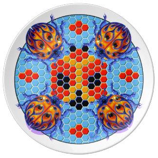 Placa azul de la mariquita del coche de carreras platos de cerámica
