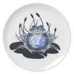 Placa azul de la rana de Bull del sauce Plato Para Fiesta