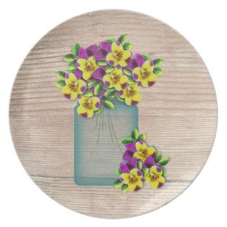Placa azul de las violas del tarro de albañil platos