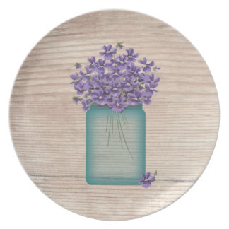 Placa azul de las violetas del tarro de albañil plato para fiesta