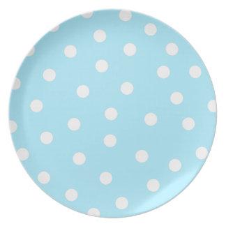 Placa azul de los puntos plato para fiesta
