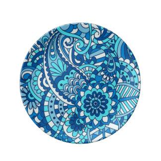 Placa azul de Paisley Plato De Cerámica