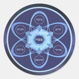 Placa azul de Seder del fractal Pegatina Redonda