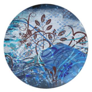 Placa azul de Swirly Platos