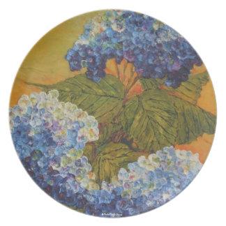 Placa azul del Hydrangea Plato De Cena