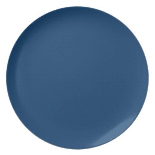 Placa azul del mar plato de cena