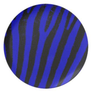 Placa azul del melanine de la cebra plato de cena