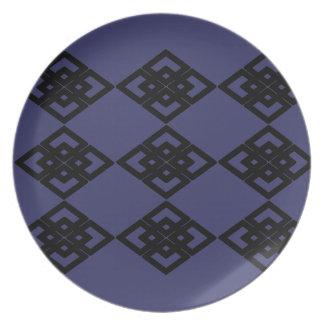 Placa azul del melanine del modelo del diamante platos