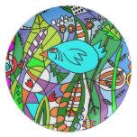Placa azul del pájaro plato de comida