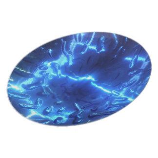 Placa azul eléctrica platos