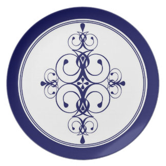 Placa azul marino del diseñador plato de cena