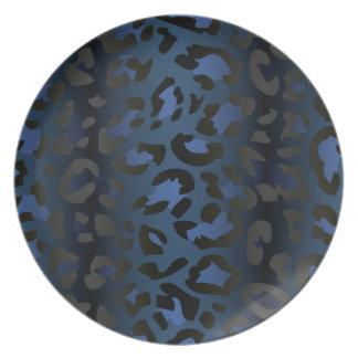 Placa azul metálica de la piel del leopardo plato de cena