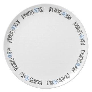 Placa azul negra 40 fabulosos plato de cena