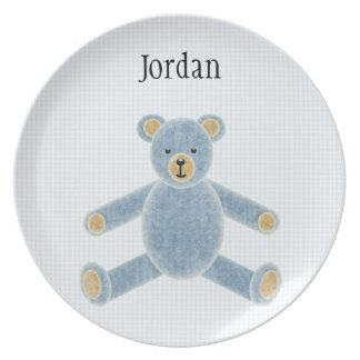 Placa azul personalizada del oso de peluche para l plato