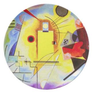 Placa azul roja amarilla de Kandinsky Plato De Cena