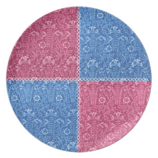 Placa azul subió modelo retro del remiendo del Cor Plato De Cena