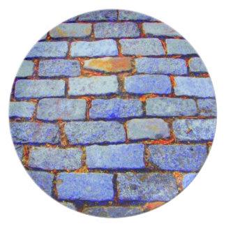 Placa (azul) urbana de los ladrillos plato de cena