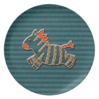 Placa azul y anaranjada caprichosa de la cebra platos de comidas