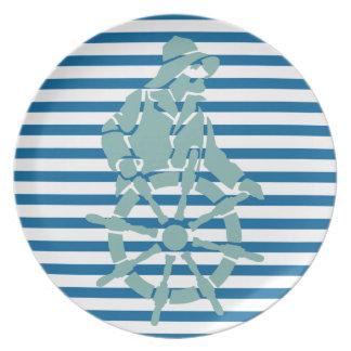 Placa azul y blanca del capitán de buque de la plato para fiesta