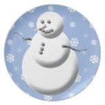 Placa azul y blanca linda del día de fiesta del mu plato de comida