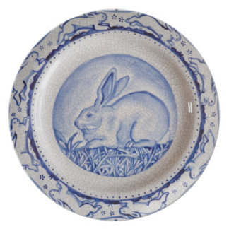 Placa, azul y blanco azules del diseño del conejo  plato para fiesta