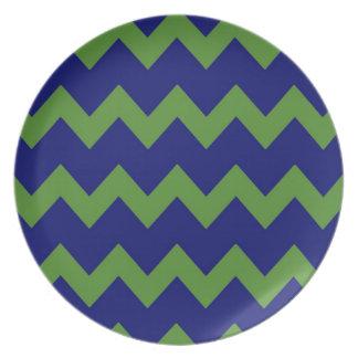 Placa azulverde de los galones plato de cena