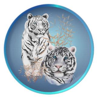 Placa blanca de dos tigres plato para fiesta