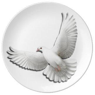 Placa blanca de la porcelana de la paloma de la plato de cerámica