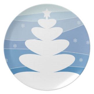 Placa blanca del árbol plato