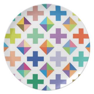 Placa blanca del diamante plato
