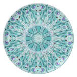 Placa blanca del diseño del fractal de la aguamari plato para fiesta