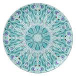 Placa blanca del diseño del fractal de la aguamari platos