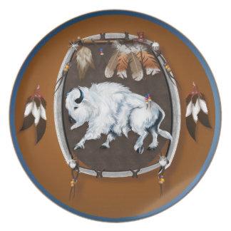 Placa blanca del escudo del búfalo plato de cena