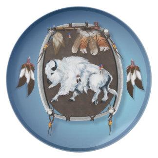 Placa blanca del escudo del búfalo plato de comida