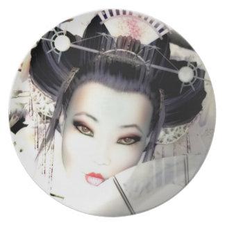 Placa blanca del geisha de la cereza plato de cena
