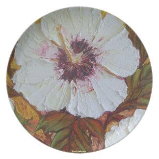 Placa blanca del hibisco plato