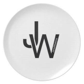 Placa blanca del logotipo de JaredWatkins Platos Para Fiestas