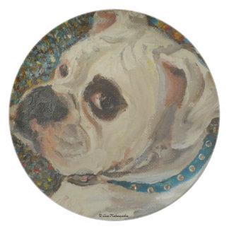 Placa blanca del perro del boxeador plato de cena