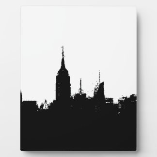 Placa blanca negra de la silueta del horizonte de
