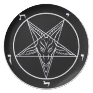 Placa blanco y negro de Baphomet (altere el pedazo Plato De Comida