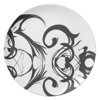 Placa blanco y negro de moda plato