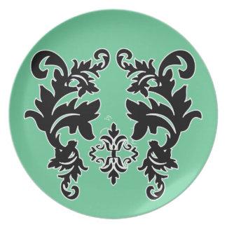 Placa blanco y negro del modelo de la verde menta  plato