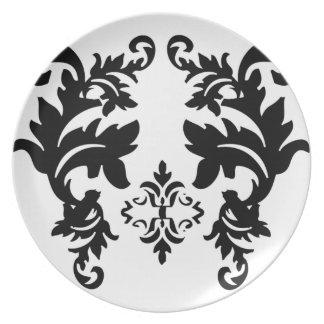 Placa blanco y negro del modelo del damasco platos de comidas