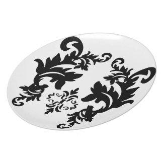 Placa blanco y negro del modelo del damasco platos para fiestas