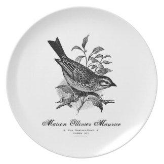 Placa blanco y negro del pájaro francés del vintag platos para fiestas