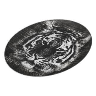 Placa blanco y negro del vintage del tigre plato para fiesta