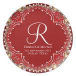 Placa bohemia roja del regalo de boda del monogram plato para fiesta